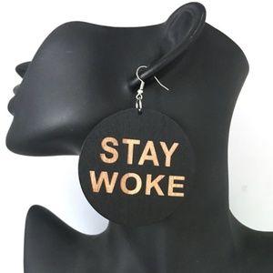 Stay Woke Wooden Statement Round Drop Earrings